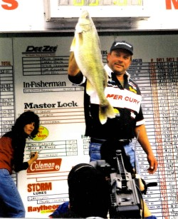 John Kolinski hoists a huge walleye at a PWT qualifier