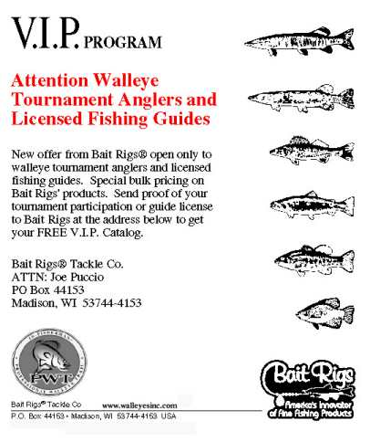 Bait Rigs V.I.P program Great Tackle at great prices for the Serious Walleye Fisherman