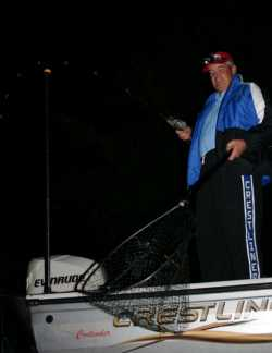 The author netting a good night walleye