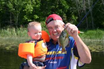 The author's grandson kept him busy on his very first fishing trip