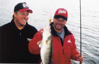 Tommy Skarlis and John Kolinski with an Early Winter Walleye