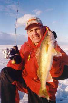 John PPpeterson of Northland Tackle with a nice winter walleye