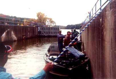 Al and Jim Linder , Gary Roach , Mark Martin and myself lock through to the Rockington locks