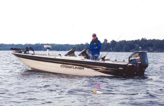 Norb Wallock trolls with his Crestliner boat