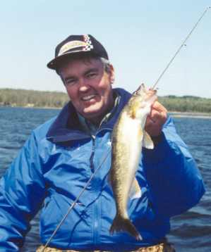 Ron Anlauf the author shows off a nice summer walleye