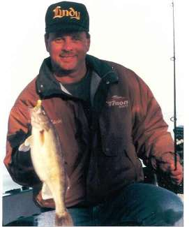 John Kolinski with an early spring walleye caught while jiggin