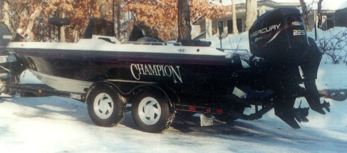 Bruce samson 39 s champion boat for sale from walleyes inc for Walleye fishing boats for sale